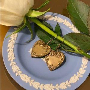 Antique Copper Heart Shaped Earrings Vintage